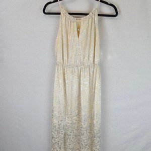 BCBG white and silver maxi dress with T back